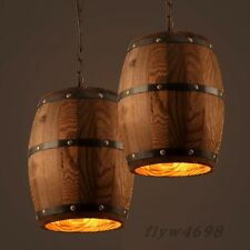 Wood Wine Barrel Hanging Fixture Ceiling Pendant Lamp Lighting Bar Cafe Lights
