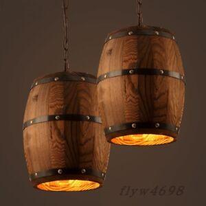 Wood Wine Barrel Hanging Fixture Ceiling Pendant Lamp Lighting Bar Cafe Lights