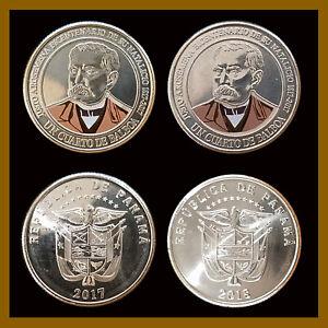 Panama 1/4 (Quarter) Balboa (2 Pcs Coin Set), 2017 & 2018 Justo Arosemena Mint