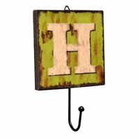 Creative Retro Style Wall Hooks Wood Material Letter Pattern Decorative Hoo P7S8