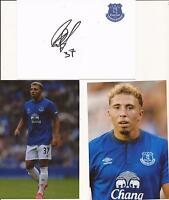 EVERTON * HALLAM HOPE SIGNED 6X4 CRESTED WHTE CARD+2 FREE UNSIGNED PHOTOS+COA