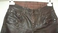 Jeans RALPH LAUREN W27/L32 Skinny Marron Brillant Look Cuir Usé