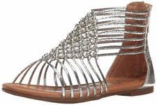 NINA Girls' karlee Gladiator Sandal Silver 10 M US Toddler