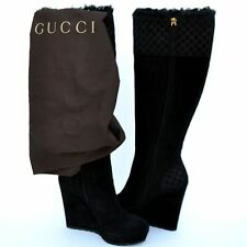 GUCCI New sz 39.5 9.5 Authentic Designer Guccissima GG Womens Boots Shoes Black