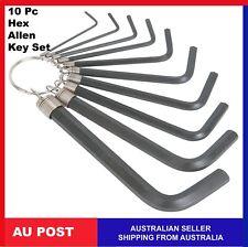 10 Pcs Set Mini Hex Metric Imperial Hexagon Allen Alan Key Wrench Tool on Ring