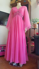 Vtg 70s Bubblegum PINK Angel Sleeve Chiffon Layered Prom Dress Evening Gown M