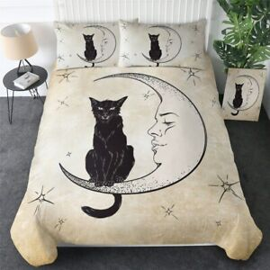 Black Cat Moon Witchcraft Magic King Queen Twin Quilt Duvet Pillow Cover Bed Set
