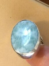Agate Ring Handmade Size 6.5 Sterling Large Oval Blue Dragon Vein