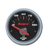 Sunpro 2 Electrical Oil Pressure Gauge Black Aluminum Bezel 0 100 Psi Cp7001