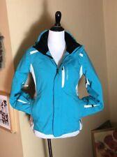 OBERMEYER sz L Large 14/16 Vivian Snow Ski JACKET Blue White ColorBlock $299 EUC