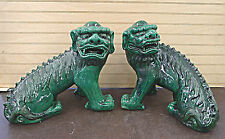 "Large Pair Green Glazed   Foo Dog Porcelain Statue Figure 13""L x 12""H"