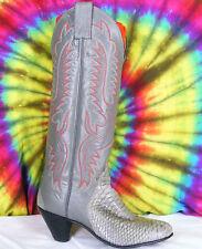 4.5 B ladies vintage gray leather & genuine snake skin JUSTIN cowboy boots