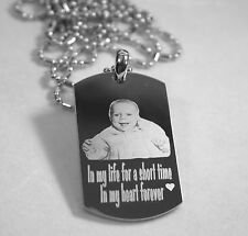 PERSONALIZED PICTURE STAINLESS STEEL DOG TAG AND NECKLACE ENGRAVE YOUR MESSAGE