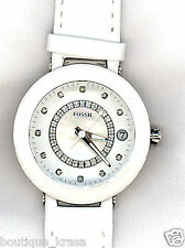$375 NWT Fossil ES3362 Ladies' White Ceramic Case Leather Strap With Diamonds