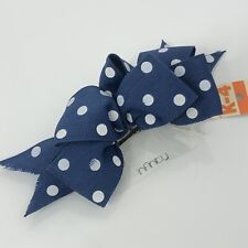 "Vintage Hair Bow Polka Dot Blue White Clip 6"" NEW"