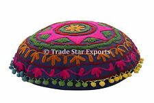 "Lots Of 5 Suzani Embroidery Cushion Cover 16"" Decorative Round Sofa Pillow Cases"