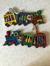 Vintage 1991 Burwood Products Circus Train Plastic Wall Plaques for Baby Nursery