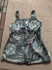 Neesh by DAR Womens Sleevless Artsy Tunic Top Straps Sheer Large colorful floral