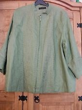 'Ann Carson' Plus Size Green Linen Jacket/Zip Front/Embroidered/3/4 Sleeve Sz 20