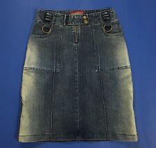 Miss sexy mini gonna jeans s stretch corta blu usata stretch tubo aderente T3062