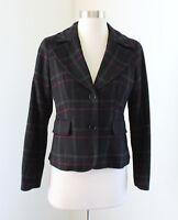 Talbots Womens Black Pink Gray Plaid Wool Blend Blazer Jacket Size 4P
