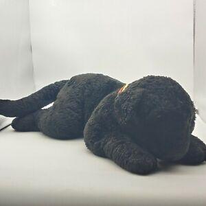 """Toys R Us Animal Alley Black Lab Dog Plush Stuffed Puppy 22"""" w plaid collar."""