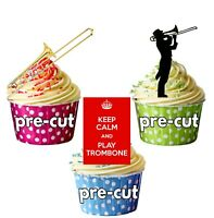 Trombone Blues Jazz PRECUT Edible Cupcake Toppers Cake Decorations Party 36 Pack