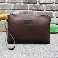 Men Coffee Leather Handbag Briefcase Business Envelope Clutch Bag Purse Supply
