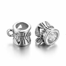 10 x Tibétain Argent Caution Bead coupe cintre 10 mm x 7 mm