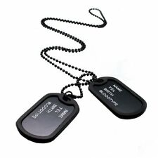 Pendant Sweater Chain Necklace Men's Jew… Military Army Style Black 2 Dog Tags