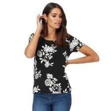 Debenhams - Black Floral Dip Hem Top Uk 14 32RN793