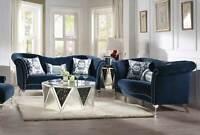 NEW Transitional Blue Velvet Living Room 2 piece Sofa Couch Loveseat Set IRAZ