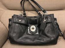 coach black leather handbag medium