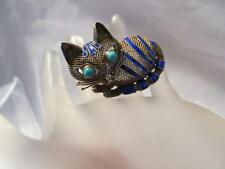 Vintage Chinese Cat Blue Enamel Turquoise Mesh Gold Sterling Silver Brooch/Pin