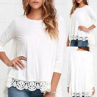 GB manga larga mujer encaje de Flores Blusa Holgado Casual Algodón Camiseta