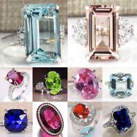 Huge Princess Cut Aquamarine&Ruby 925 Silver Women Wedding Bridal Ring Size 6-10
