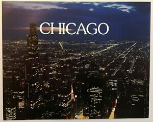 Classic Chicago Skyline Poster Print Lithograph Wall Art Lights Retro 90s