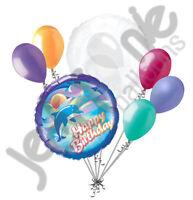 7 pc Jumping Dolphin Happy Birthday Balloon Bouquet Gift Fish Ocean Sea Bottle