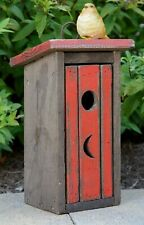 Birdhouse Outhouse ALL WOOD  GR8 Details & Country Charm RED with door & Hanger