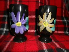 Set of 2 Black Cappuccino Cups with Hand Painted Flowers in Purple and Yellow