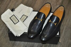 Authentic New Gucci Betis Glamour Dark Blue Leather Horsebit Loafers,10.5G/US11