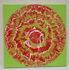 "12"" Lp Acrylic Paint Pour Modern Abstract Painting Bright Lime Grren Red White"