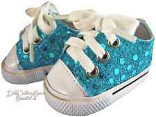 """Teal Sequin Sneakers Shoes for 18"""" American Girl Doll Clothes Accessories"""