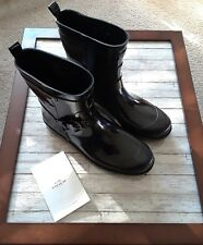 "Coach ""LESTER"" Shiny Rubber Rain Boot Black Size 10M *NIB*"