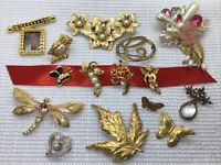 Estate Brooch Lot 15 Gold Tone Pearl Signed KJL Avon Coventry Butterfly Floral