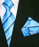 Krawatte Krawatten Set mit Einstecktuch Schlips Binder de Luxe türkis blau 540