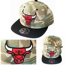Mitchell & Ness NBA Chicago Bulls Fitted Hat Green Camouflage Black Visor Cap