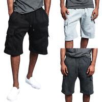 Men's Fashion Adjustable Drawstring Blend Multi Pocket Soft Cargo Shorts Pants