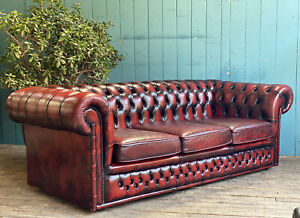 3 Seater Buttoned Back Oxblood Red Leather Chesterfield Sofa  DELIVERY*🚚