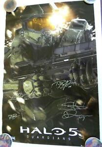Halo 5 Guardians Signed 24x36 Poster, Steve Downes, Jennifer Hale -Slight Damage